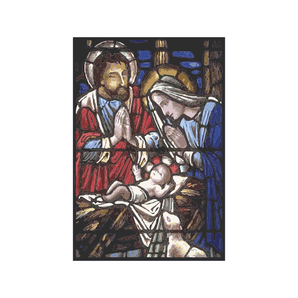 Holy family in stained glass vector illustration