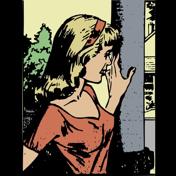 Standing retro woman