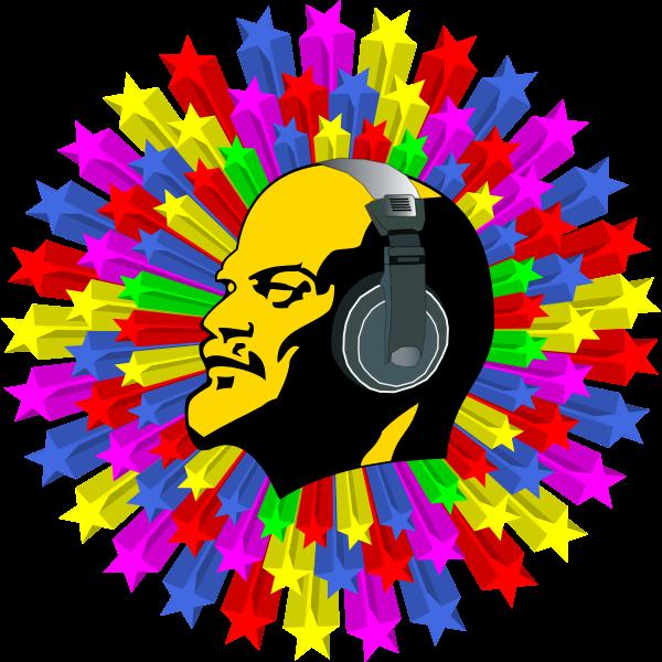 Lenin listening to disco music vector illustration