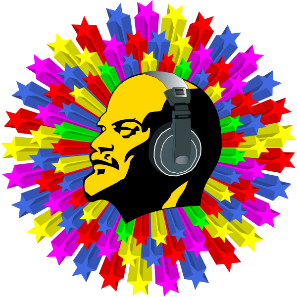 Lenin listening to disco music vector illustration