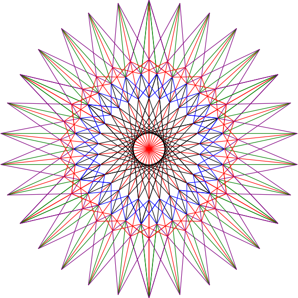 Illustration of animated star from geometrical shapes