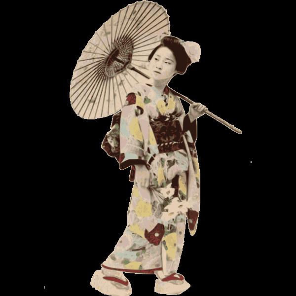 Vector illustration of kimono lady stereotype