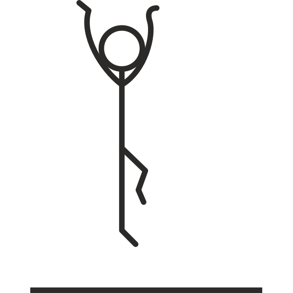 Stick figure jumping