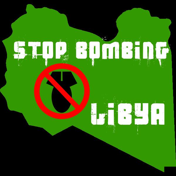 Vector graphics of stop bombing Libya label