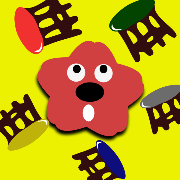 Cartoon stools and red star