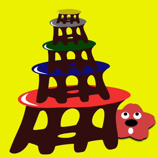 Cartoon stool-tower with red star
