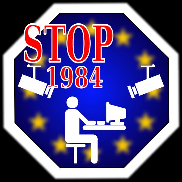 Stop 1984 in Europe vector image