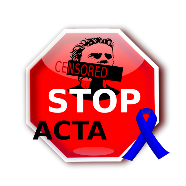 Stop ACTA sign with blue ribbon vector image