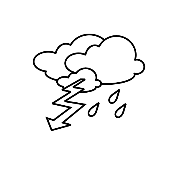 Outline weather forecast icon for thunder vector clip rt