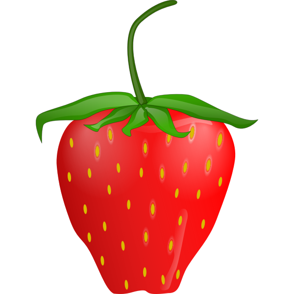 Vector clip art of strawberry with stem