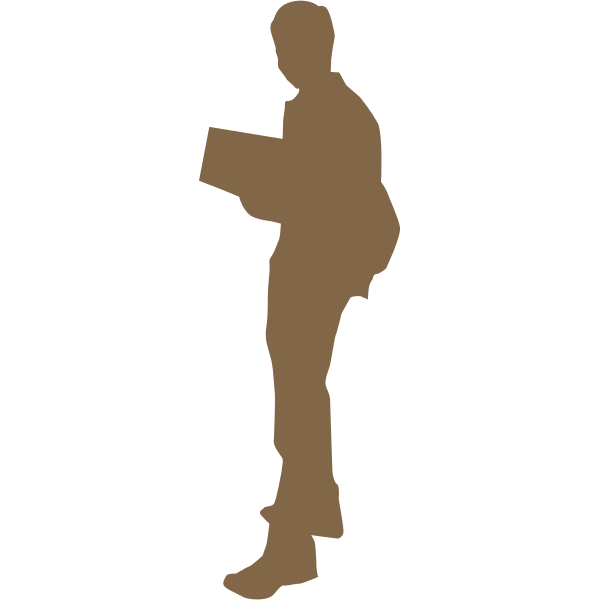Silhouette of student vector clip art