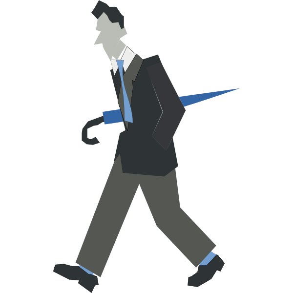 Vector drawing of man walking with an umbrella under his arm