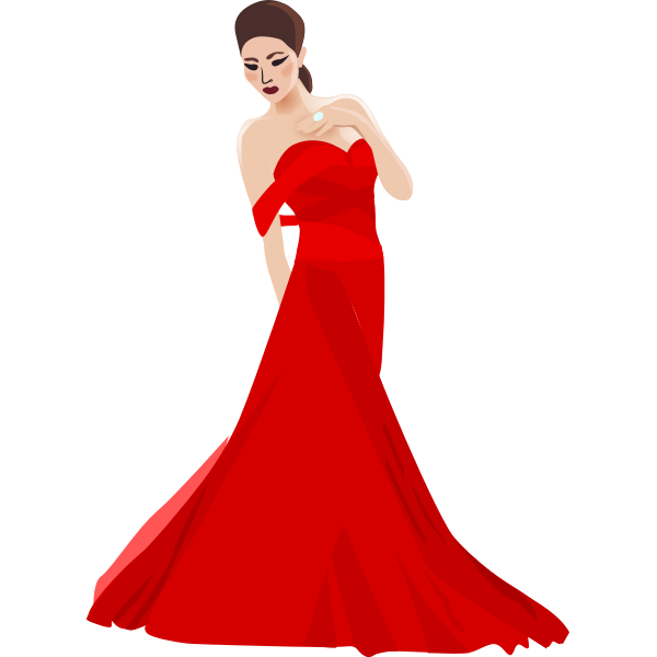 Chinese woman in red dress vector image