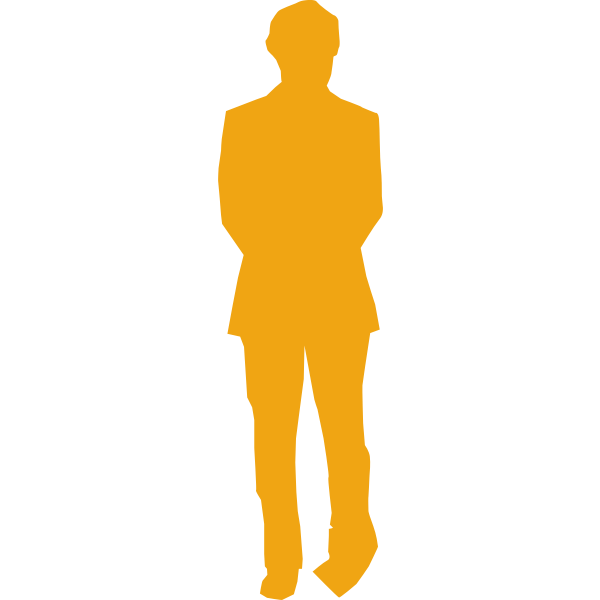 Man in listening pose silhouette vector image