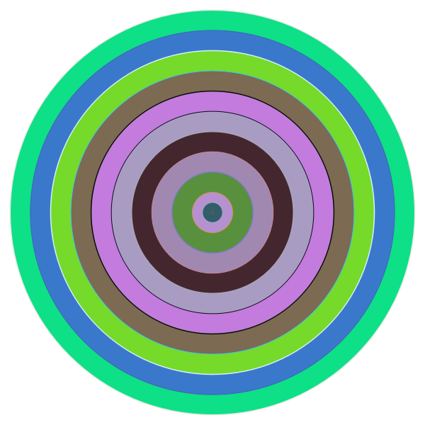 Vector graphics of circle in different shades of green and purple