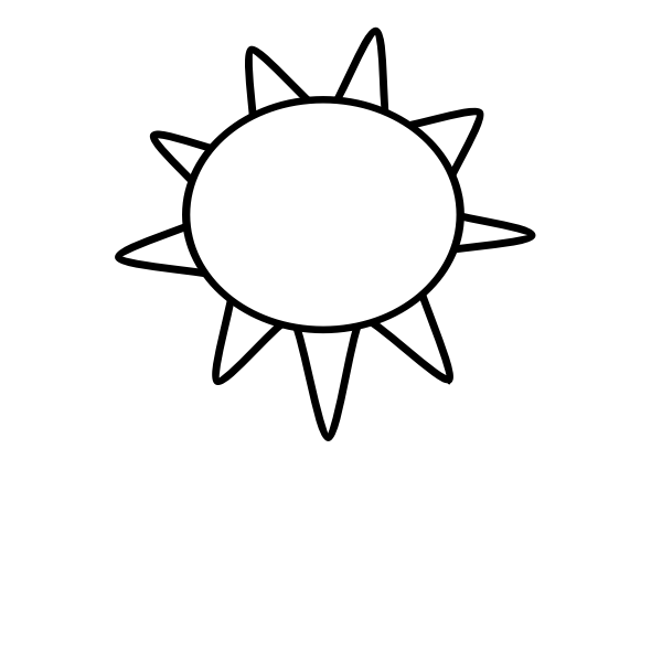 Black and white symbol for sunny sky vector image