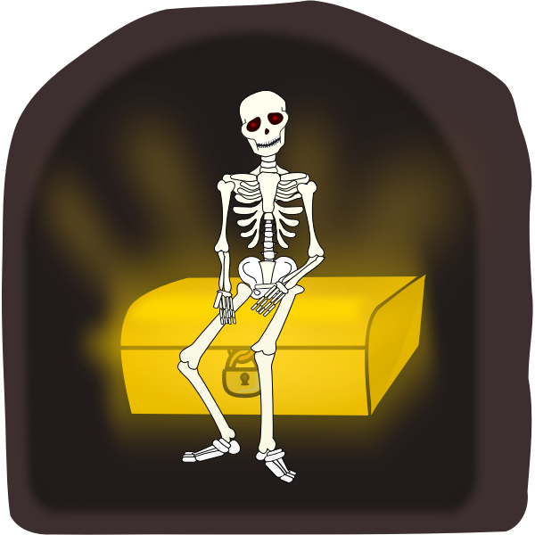 Skeleton sitting on treasure chest vector illustration
