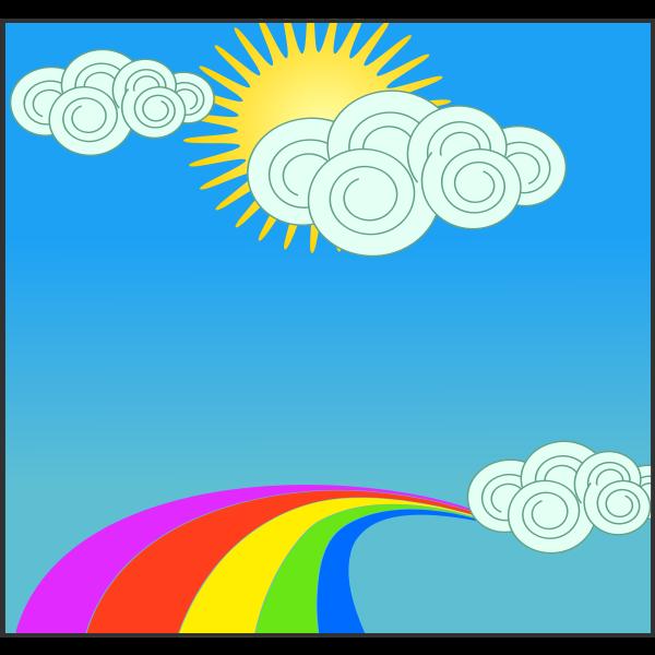 Sun, sky, clouds, and rainbow
