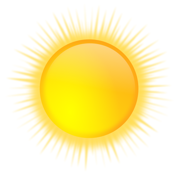 Vector graphics of weather forecast color symbol for brightly sunny sky