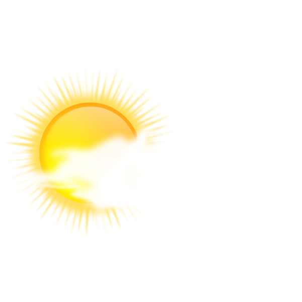 Vector drawing of weather forecast color symbol for sunny to cloudy sky