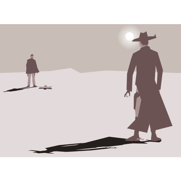 High noon western showdown vector graphics