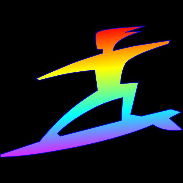 Surfer silhouette color art