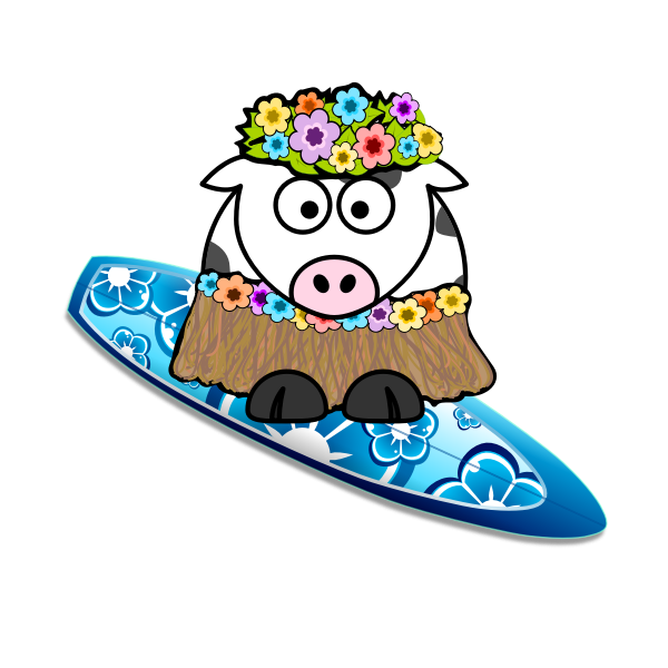 Surfer cow vector image