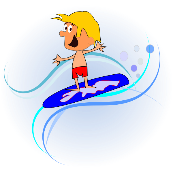 Comic character surfer vector graphics