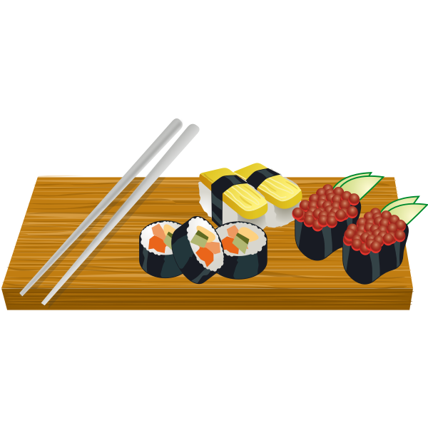 Sushi on a board