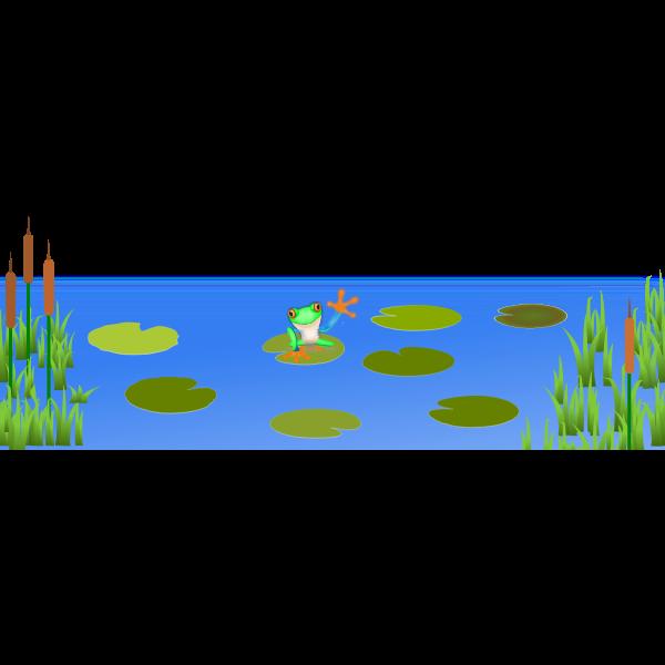 Frog on Bluish Pond