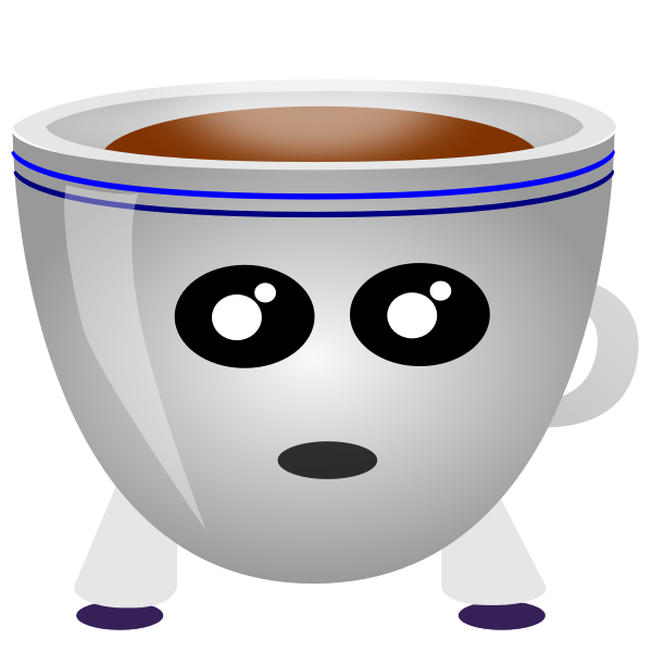 Image of a cup of coffee with eyes and mouth