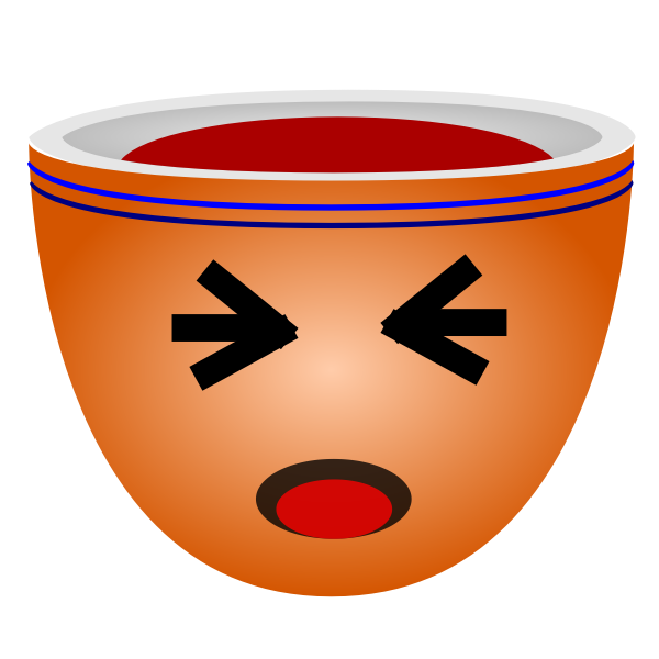Illustration of orange cup of coffee with eyes tight closed