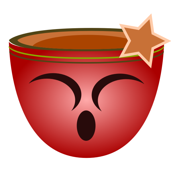 Vector image of red cup with smiling female face