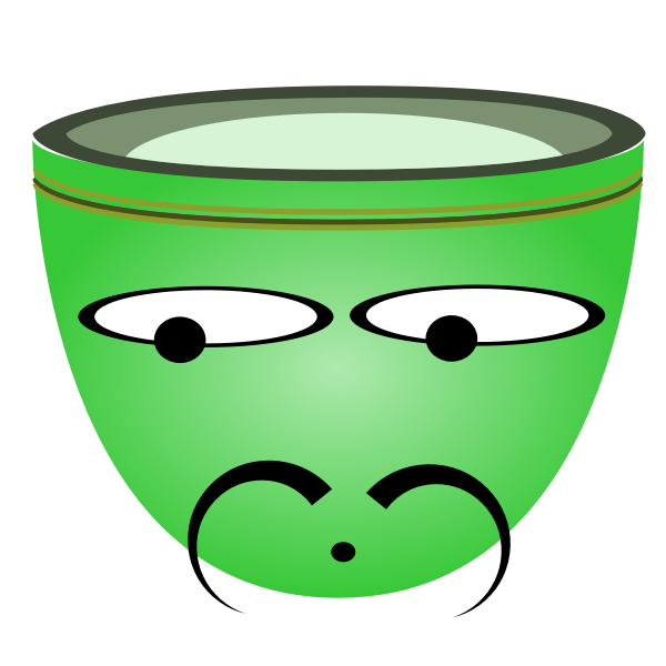 Vector graphics of sad Spaniard green cup