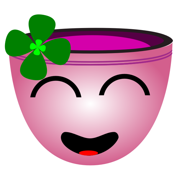 Vector clip art of laughing face pink cup