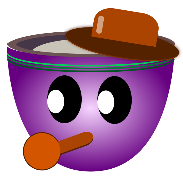 Vector image of party guy purple mug