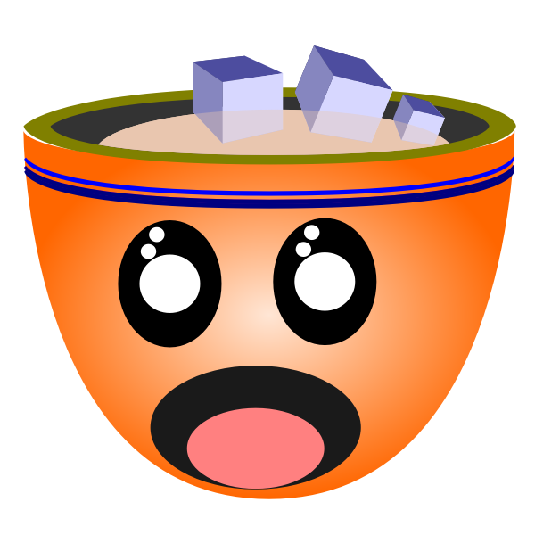 Vector illustration of scared man face cup