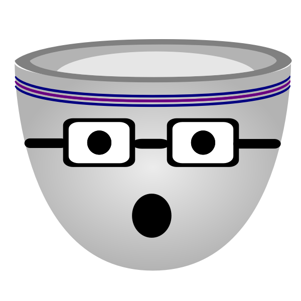 Vector image of scared nerdy face cup