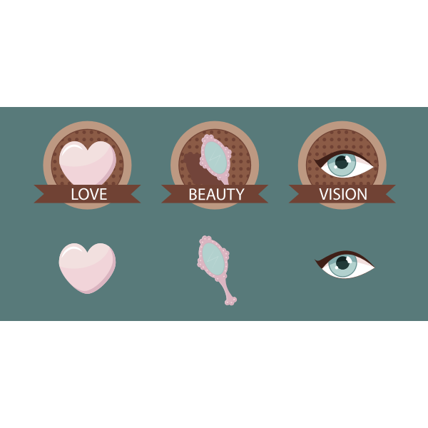 Vector drawing of badges for love, beauty and vision