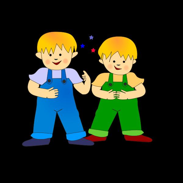 Vector clip art of twin brothers children