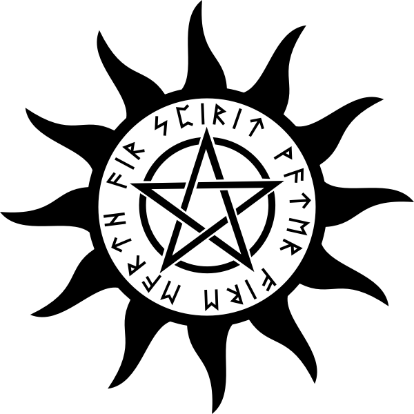 Vector graphics of pentagram inside Sun symbo