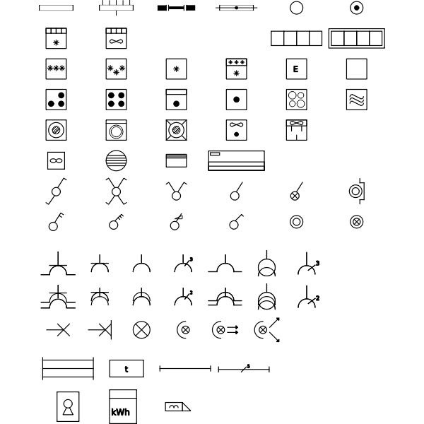 Vector illustration of set of domestic electric symbols