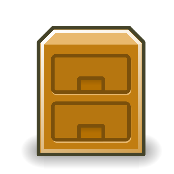 Vector clip art of brown file cabinet