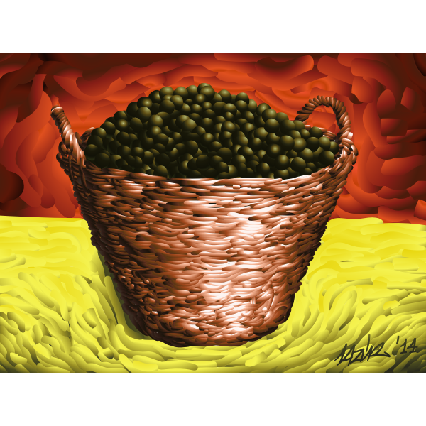 Basket full of olives vector image