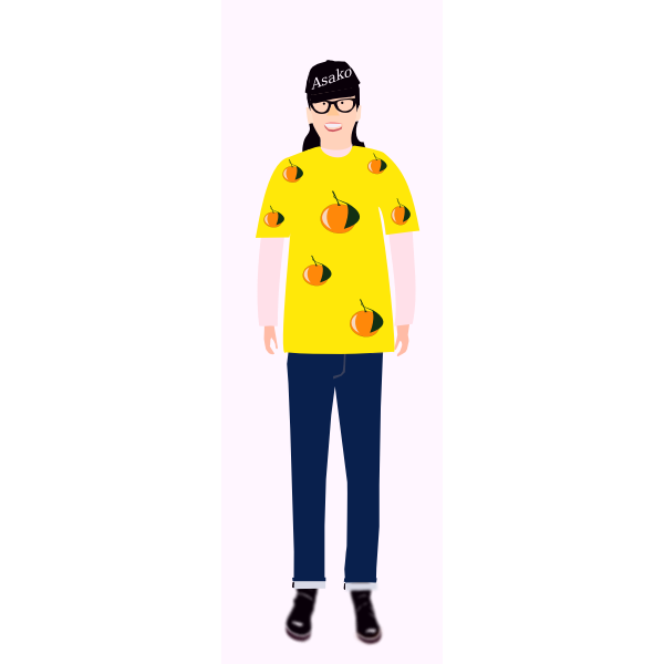 Vector image of trendy girl in yellow t- shirt with orange pattern