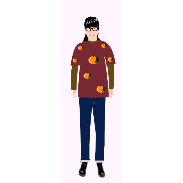 Vector clip art of trendy guy in t- shirt with orange pattern
