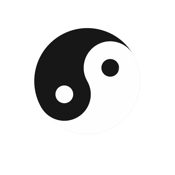 Yin yang symbol black and white color