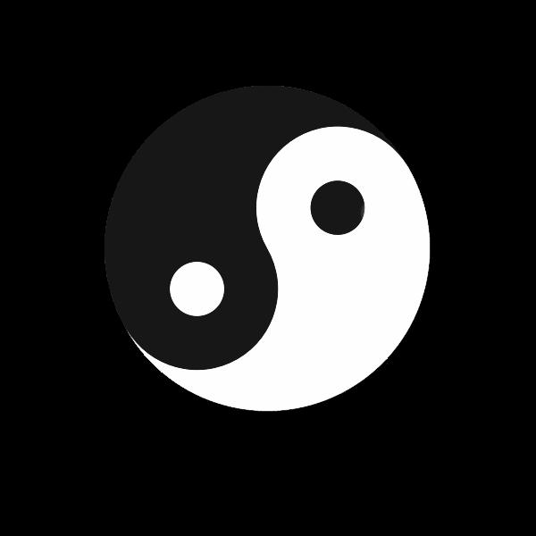 Yin yang symbol black and white color