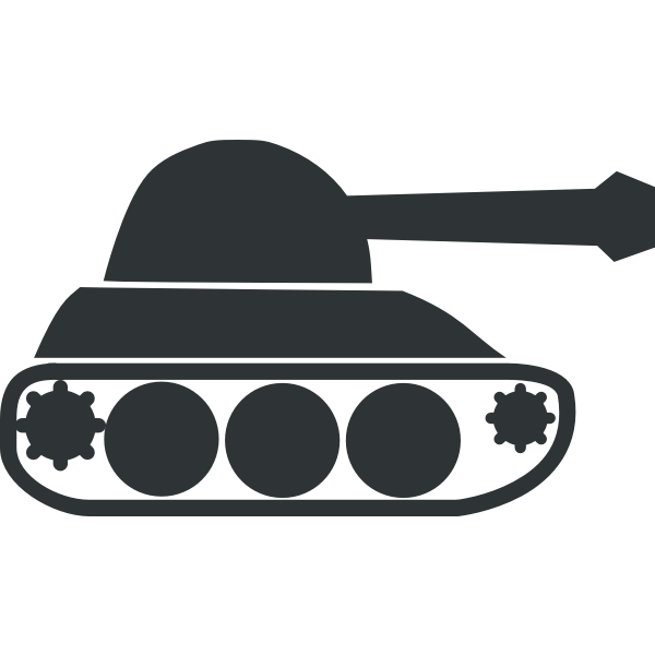 Black army tank vector icon
