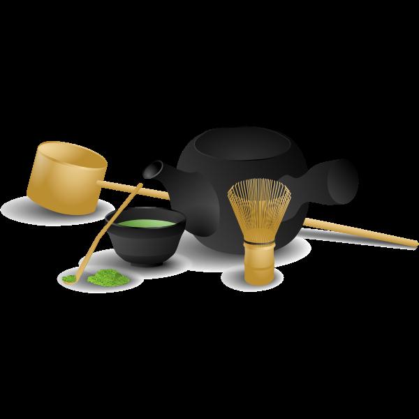 Japanese tea serving vector image